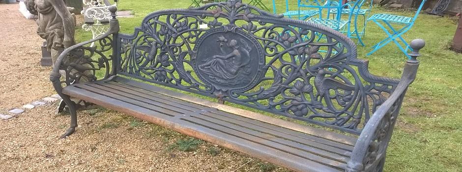 Heavy cast iron garden benches
