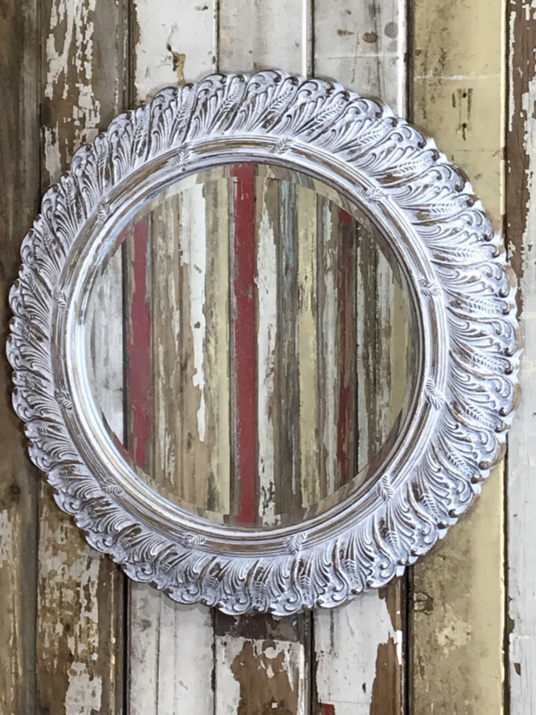 Large Round Shabby Chic Wall Mirror With Bevelled Mirror Glass Somerset Reclamation Radstock Bath Wells South West Home Living