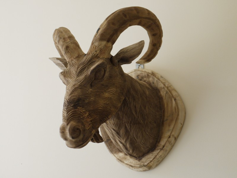 Wall Mounted Wooden Goat Head With Detailed Features 34cm