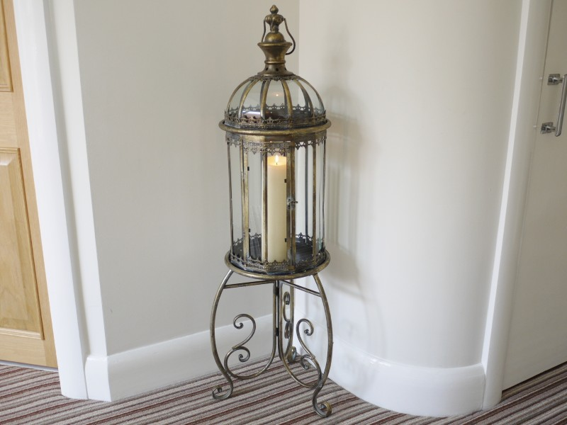 Large Freestanding Metal And Glass Lantern On A Stand