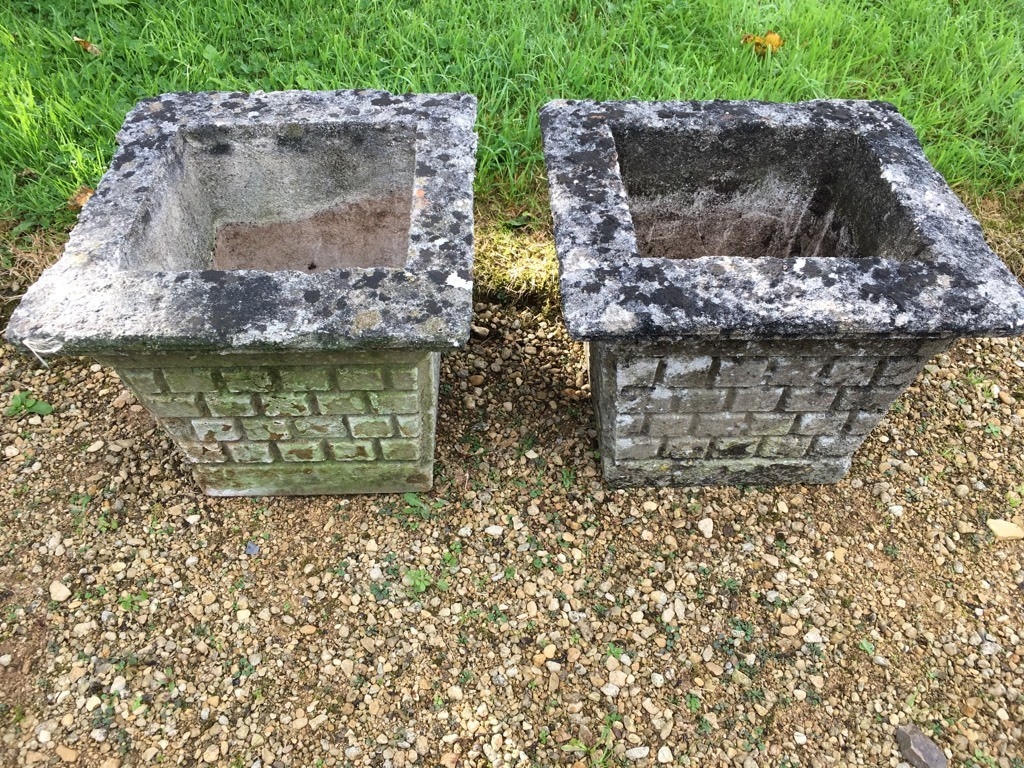 Lovely Old Concrete Pair Of Square Weathered Stone Garden