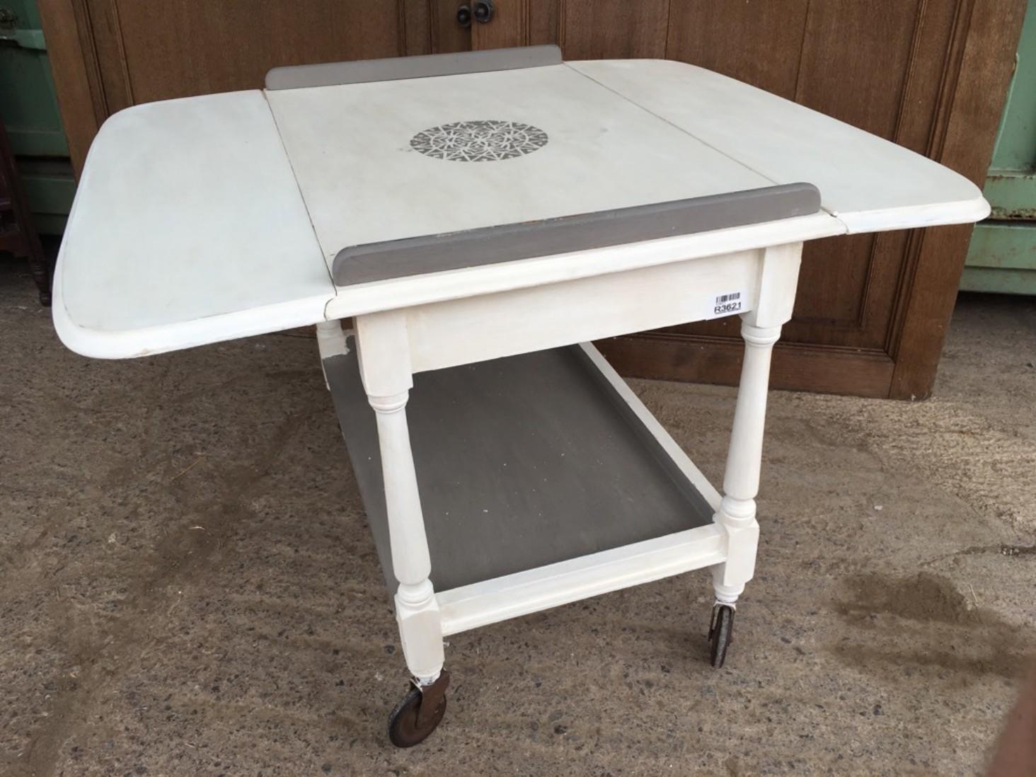 Trolley Coffee Table.Interesting 1930s Oak Painted Drop Leaf Serving Trolley Coffee Table 53x81x66cm