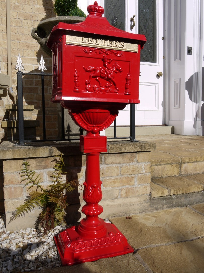 Red Cast Aluminium Stem Post Box Somerset Reclamation