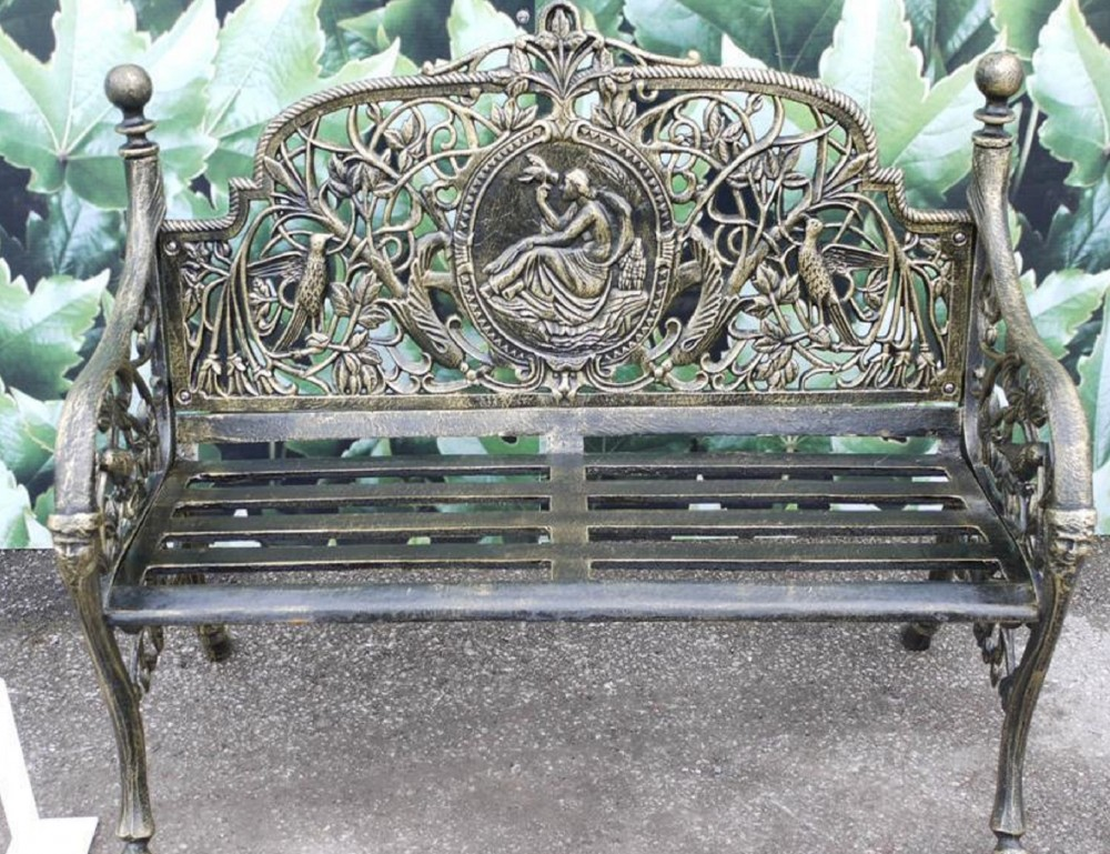 Terrific Heavy Cast Iron Black 2 Two Seater Garden Park Bird Lady Bench Seat Beatyapartments Chair Design Images Beatyapartmentscom