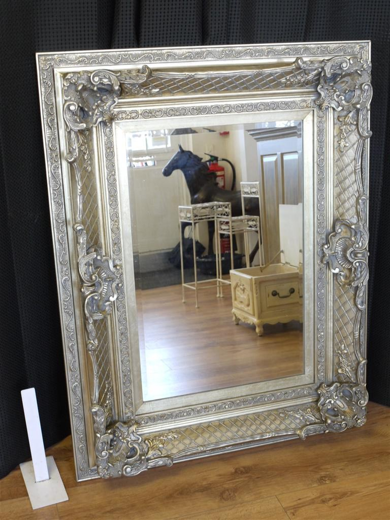 36 X46 Large Antique Silver Framed Mirror Rectangular