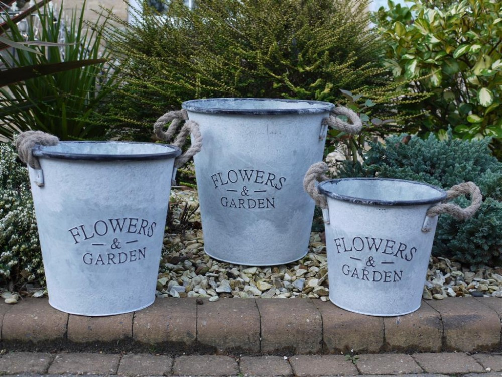 3 Metal Rope Handle Buckets S M L Quot Flowers Amp Garden
