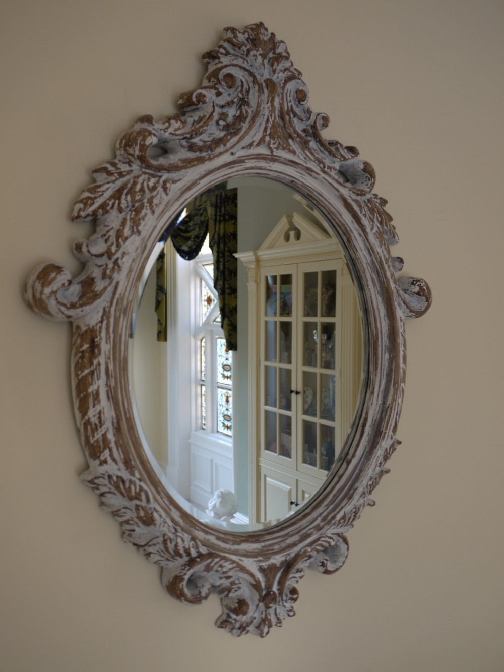 Oval Bevelled Mirror With Shabby Chic Resin Cast Frame