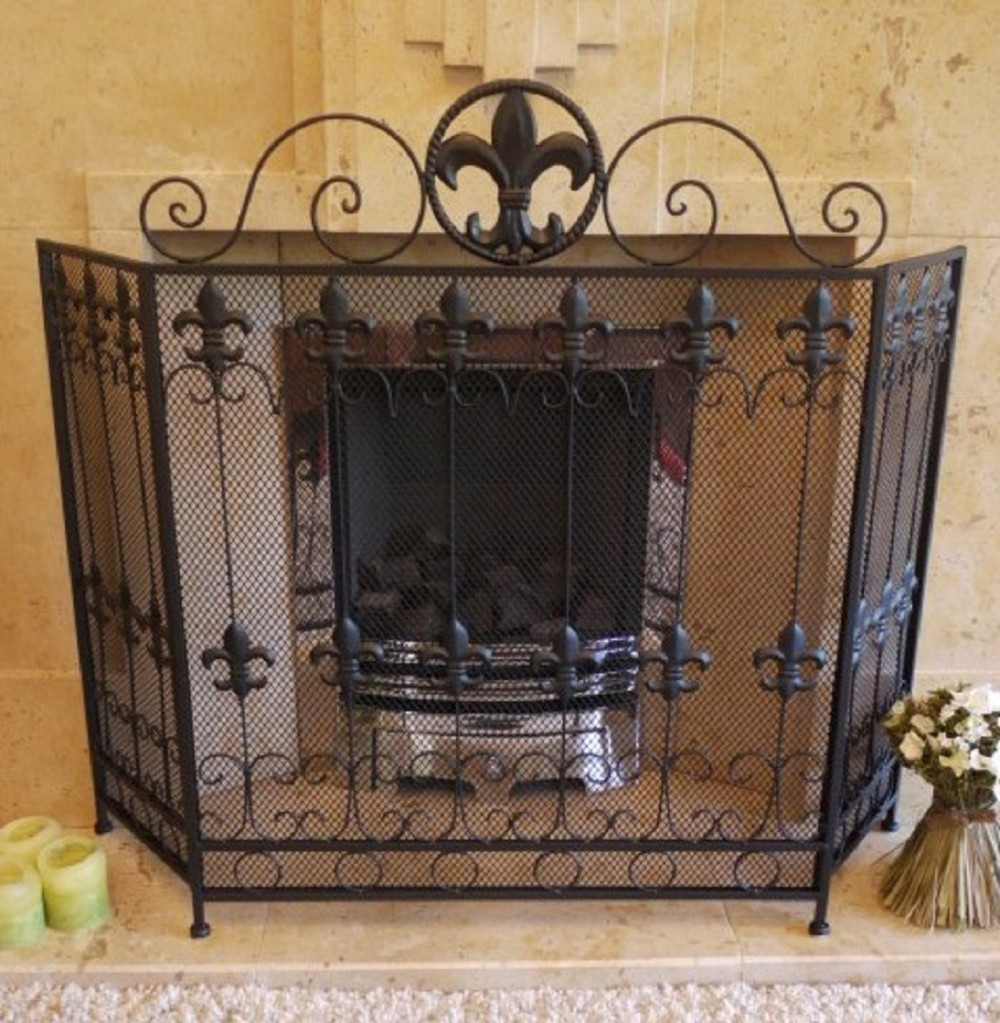 Wrought Iron Fire Screen With Fine Mesh Somerset