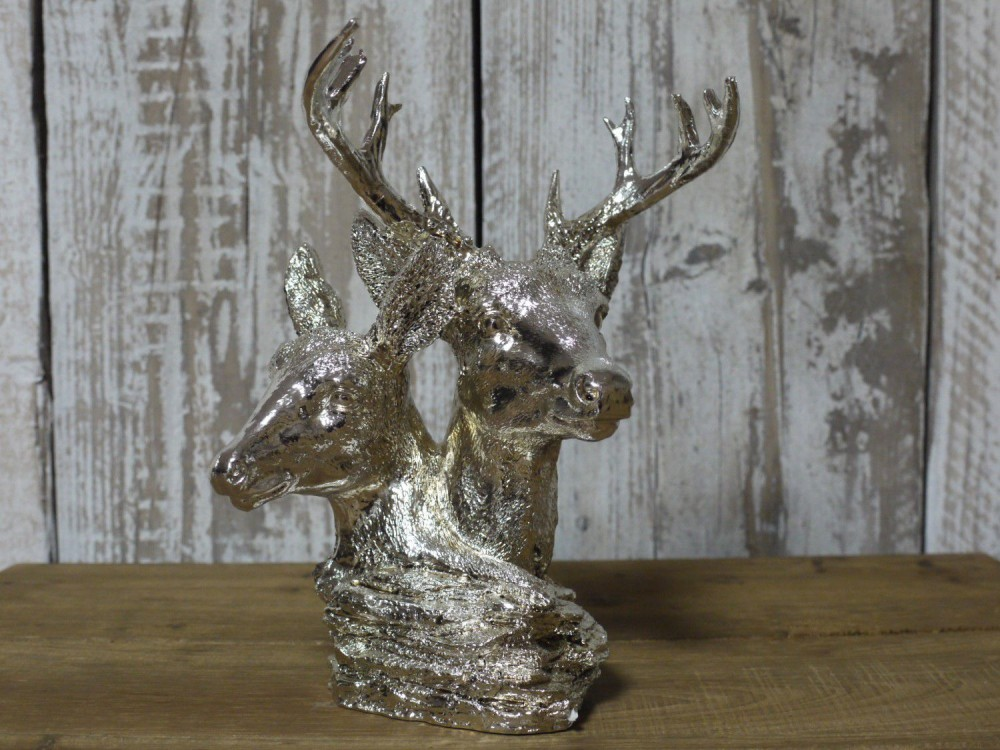Silver Resin Stag Amp Hind For Decoration 9 High Somerset