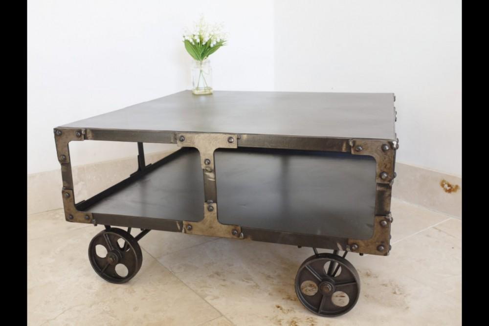 Trolley Coffee Table.Industrial Coffee Table With Shelf Trolley On Wheels 35x68x68cm