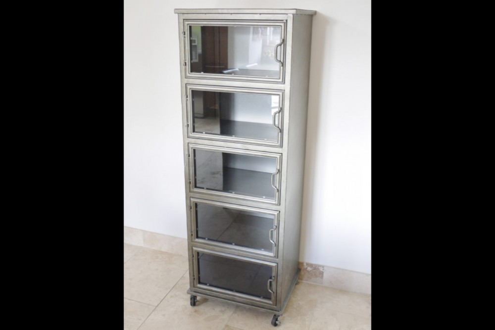 Upright Industrial Metal Cabinet With 5 Glass Doors On Castors
