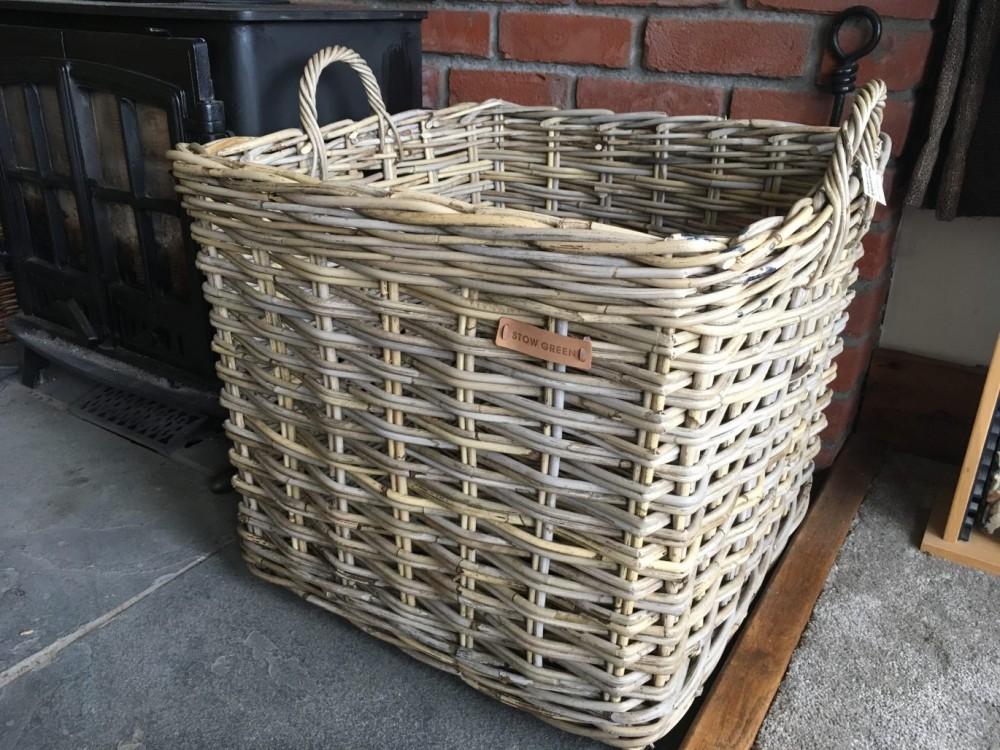 56x56x56cm Large Square Grey Kubu Rattan Log Basket