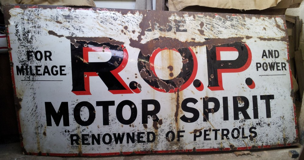 Large ROP Russian Oil Products Collectors Enamel Garage Sign 8'x4'