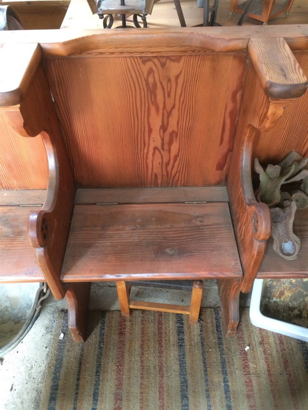 Interesting Victorian 3 Seater Stripped Pitch Pine Church