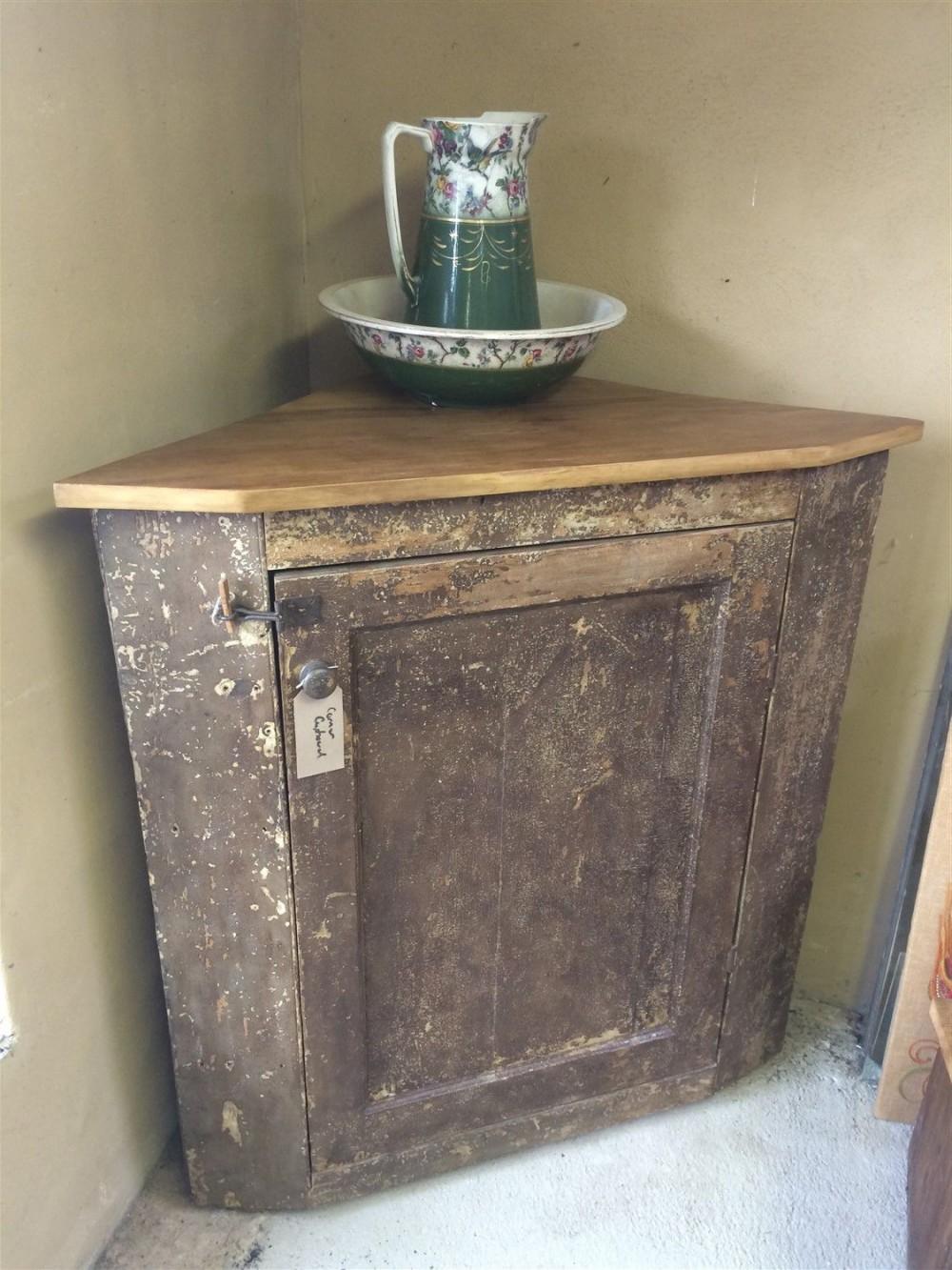 Nice Reclaimed Old Rustic Pine Corner Cupboard 4ft