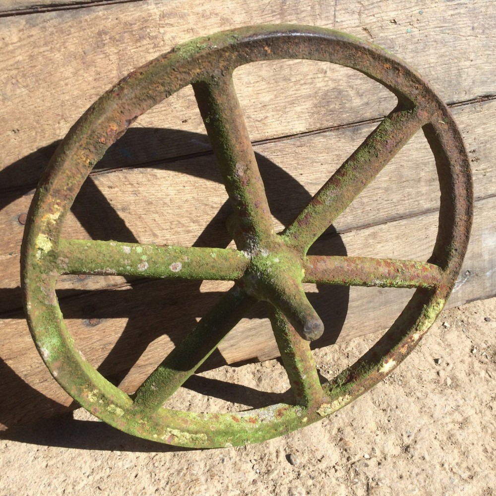 Old Early Victorian Cast Iron 6 Spoke Implement