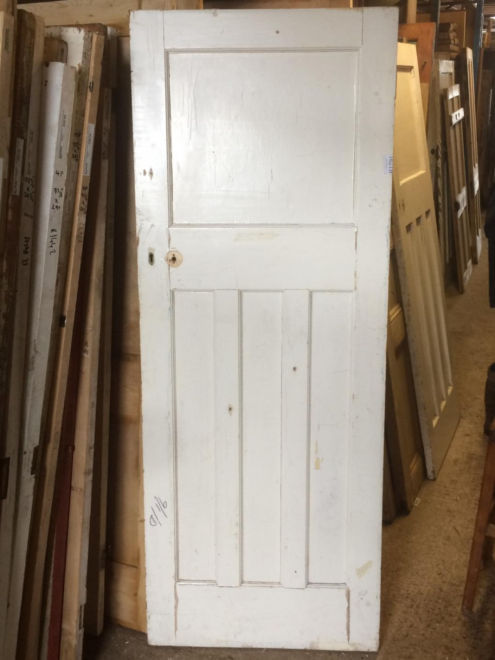 Reclaimed 1 Over 3 Four Panel Door In Good Old Condition