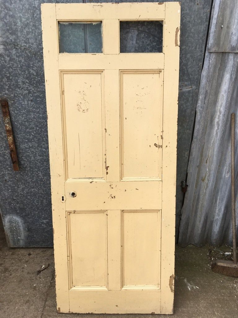 30 188 X75 Victorian Ex Glazed Painted Pine Six Panel