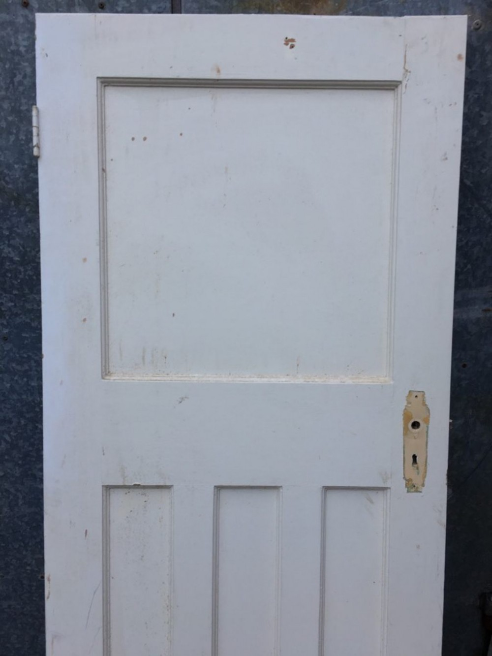 27 3 4 x75 3 8 1930s painted pitch pine four panel 1over3 for Narrow internal doors