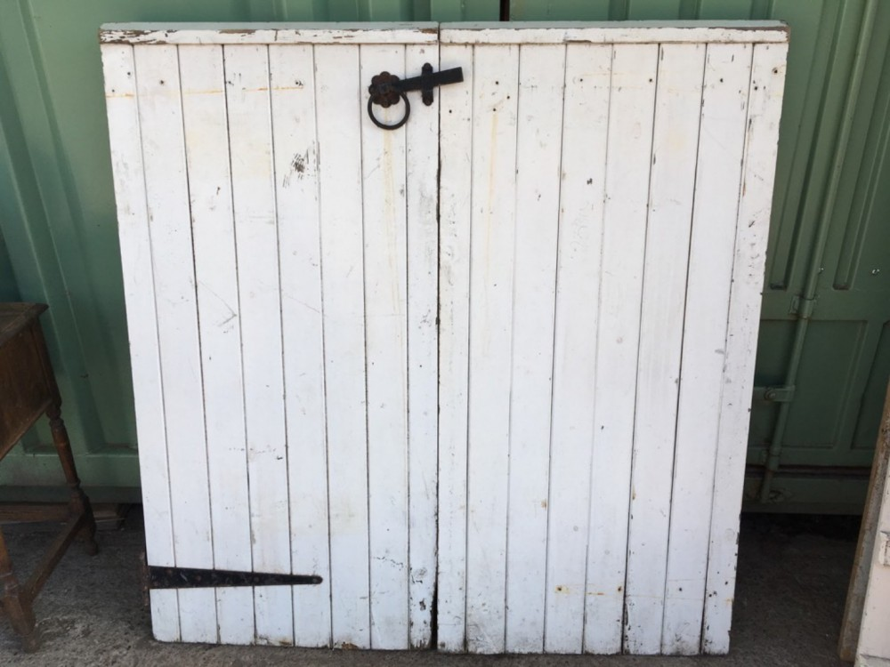 Salvaged Old Pair Of Painted Pine Wooden Garden Gates 133x1315cm
