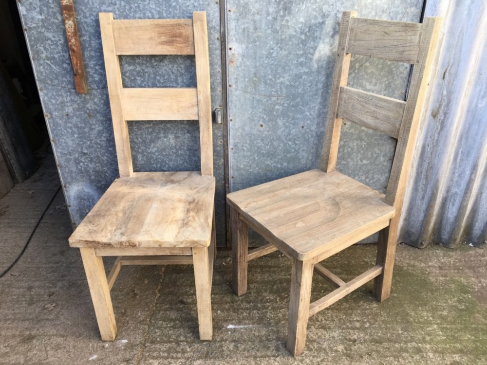 Lovely Modern Pair Of Elm Ladder Back Shaker Kitchen Chairs 107 5cm High