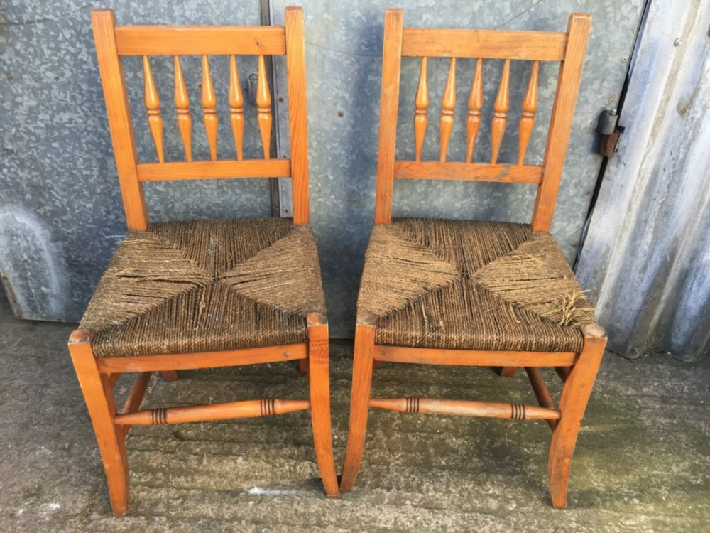 Useful Old Pair of Pine Spindle Back Grass Seat Kitchen ...