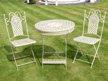 Antique White Garden Folding Bistro Set 2 Chairs & Round Table