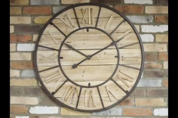 Wood & Metal Wall Clock With Roman Numerals 90x90x2cm