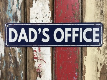 """DAD'S OFFICE"" Wall Door Tin Metal Study Room Sign"