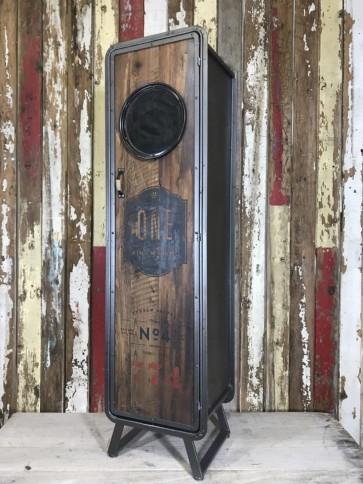 1.4m Tall Industrial Style Metal Frame & Wooden Door Cabinet Storage Cupboard Steel