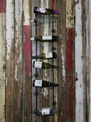 12 Bottle Wine Metal Wall Hanging Rack Holder Industrial Style Steel 135cm Tall
