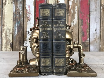 Steampunk Style Head & Skull Book Ends Industrial Home Decoration New Resin Gold Finish