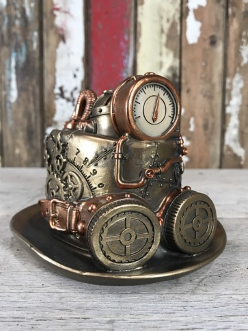 Steampunk Bowler Hat Goggles Mad Hatters Ornament Industrial Decoration New Resin 11cm Tall