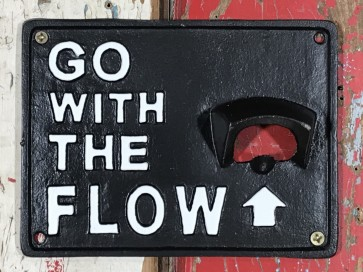 "Wall Mounted Bottle Opener ""GO WITH THE FLOW"" Beer Stubby Black Cast Iron"