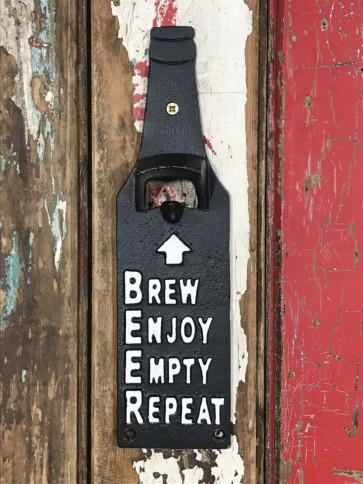"Bottle Shape Beer Top Opener ""BREW ENJOY EMPTY REPEAT"" Wall Mounted Cast Iron"