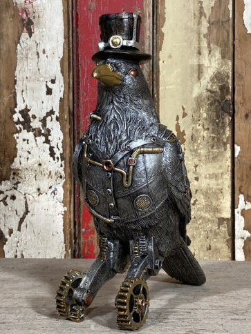 Steampunk Mad Hatter Robot Bird Industrial Decoration New Resin 27cm Tall Animal