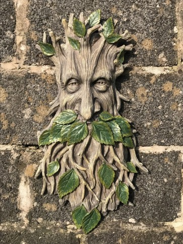 2'2 Large Long Faced Tree Leaf Man Garden Wall Feature