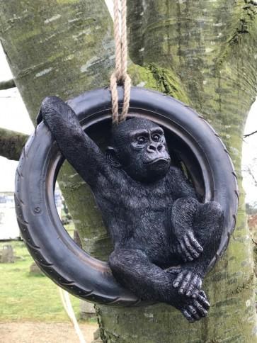 Swinging Cheeky Black Gorilla In Motor Bike Tyre Garden Statue Resin