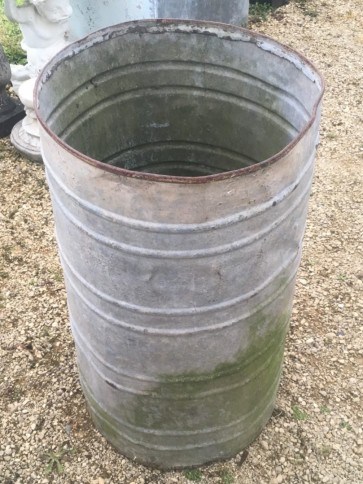 "Vintage Old Galvanized 18"" Round Deep Old Water Tank Trough Planter Tub"
