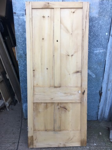 "34 7/8""x82 1/2"" Reclaimed Victorian Stripped Pine Four Panel Internal Door"