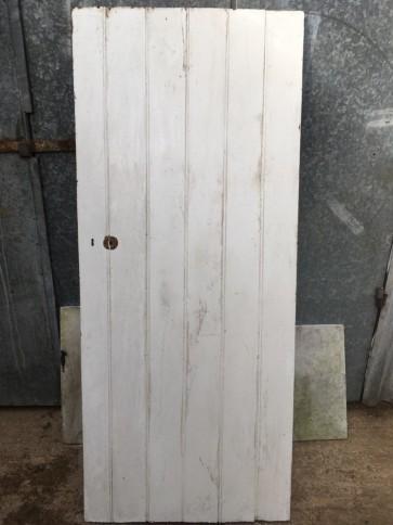 "29 7/8""x70 3/8"" Reclaimed Very Old Painted Elm 6 Plank Ledge Short Internal Door"