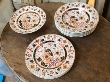 Nine Interesting Old Hall China Plates & Cake Stand 3 Dinner 6 Soup