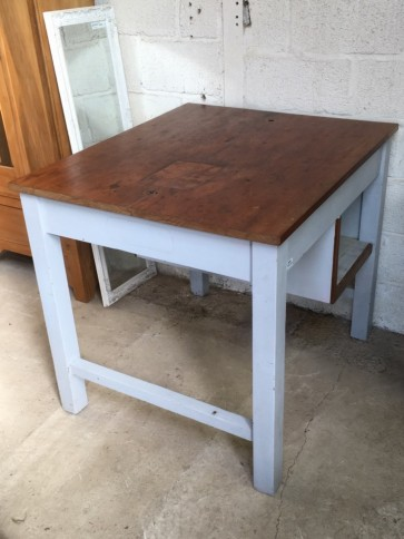 "36 1/4"" By 42"" Interesting Old Teak Kitchen Middle Island Table Unit Worktop"