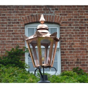 Hexagonal Copper Lantern Victorian Style Large