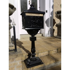 Black Aluminium Stem Post Box