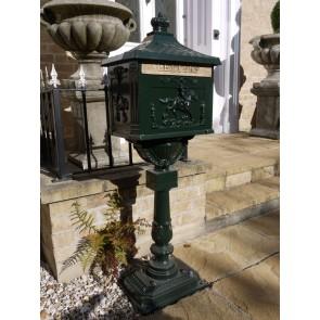 Green Aluminium Stem Post Box