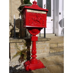 Red Aluminium Stem Post Box