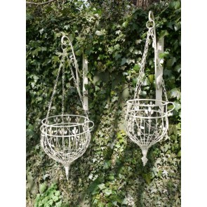 Set Of Two White Hanging Baskets S&L