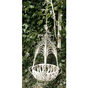 "11"" Small Cream Hanging Basket"