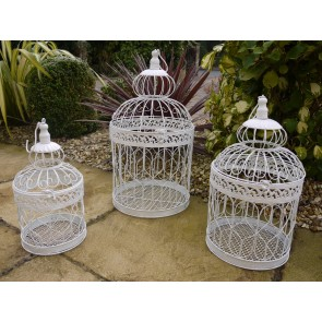 Small Medium Large Shabby Chic White Hanging Metal Wire Round Bird Cages